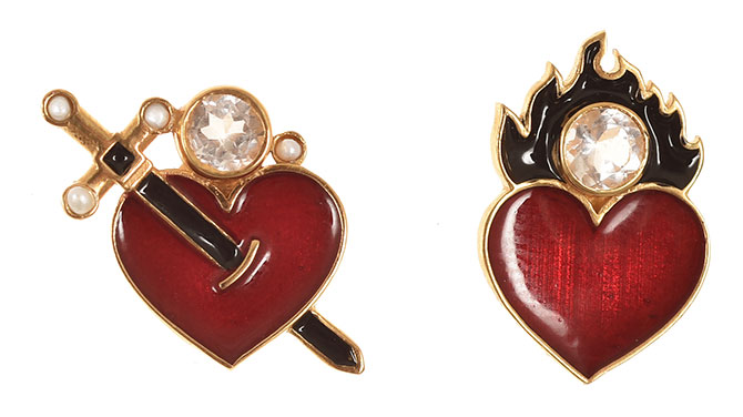 percossi papi red enamel heart earrings