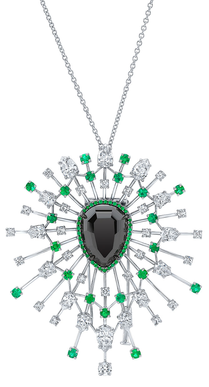 rahaminov black diamond pendant brooch