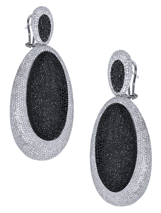 siera jewelry black and white diamond earrings