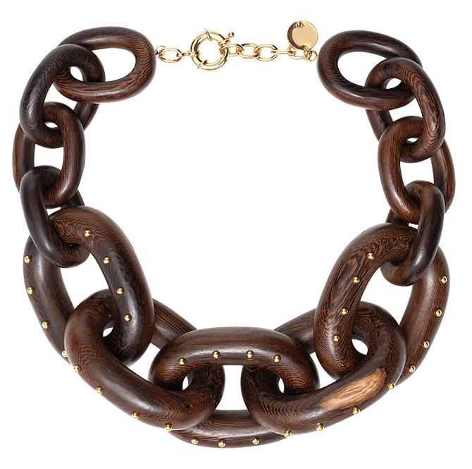 vanda jacintho mahogany wood chain choker