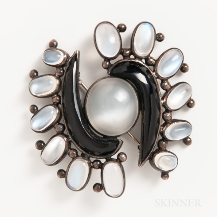 Antonio Pineda obsidian and moonstone brooch