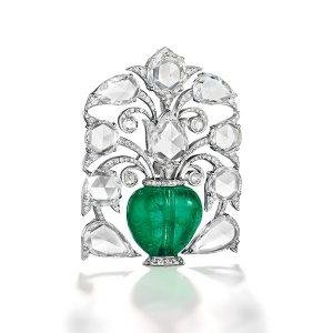 Christies emerald and diamond brooch