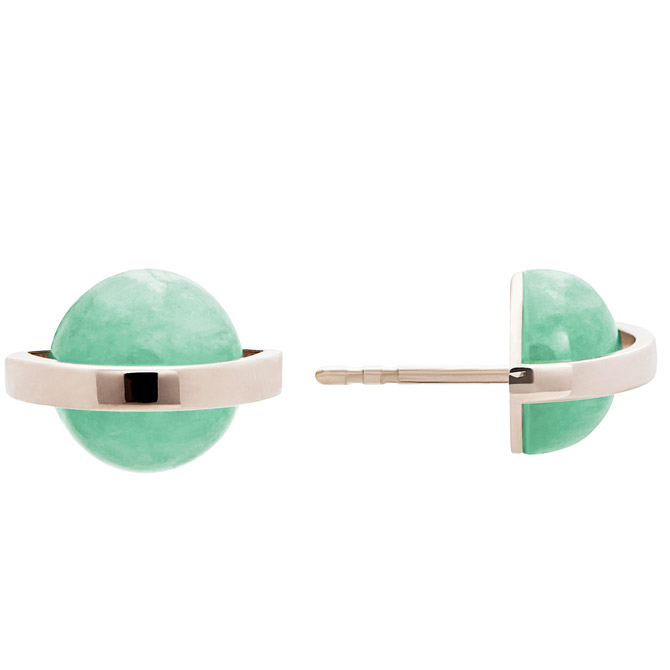 Alina Abegg chrysoprase Saturn stud earrings