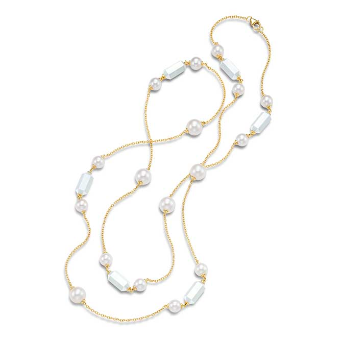 Mastoloni 36 inch pearl and moonstone necklace