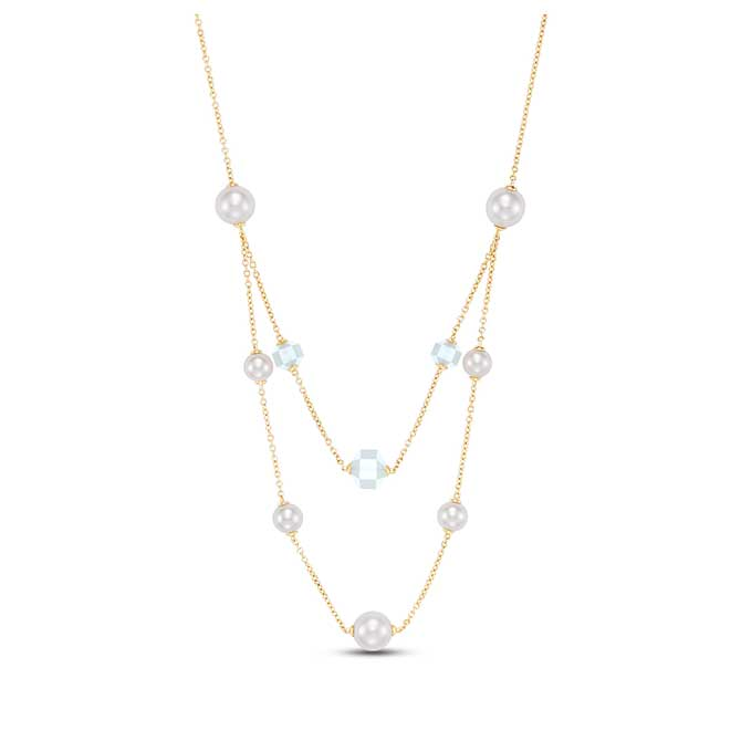 Mastoloni double strand pearl and moonstone necklace