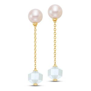 Mastoloni pearl moonstone linear chain earrings