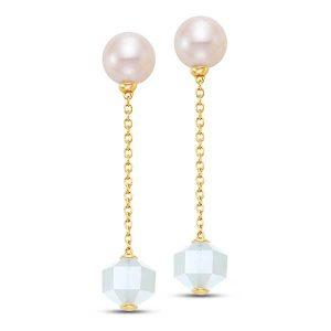 Mastoloni pearl moonstone linear chain earrings
