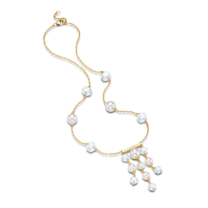 Mastoloni pearl moonstone tassel bar necklace