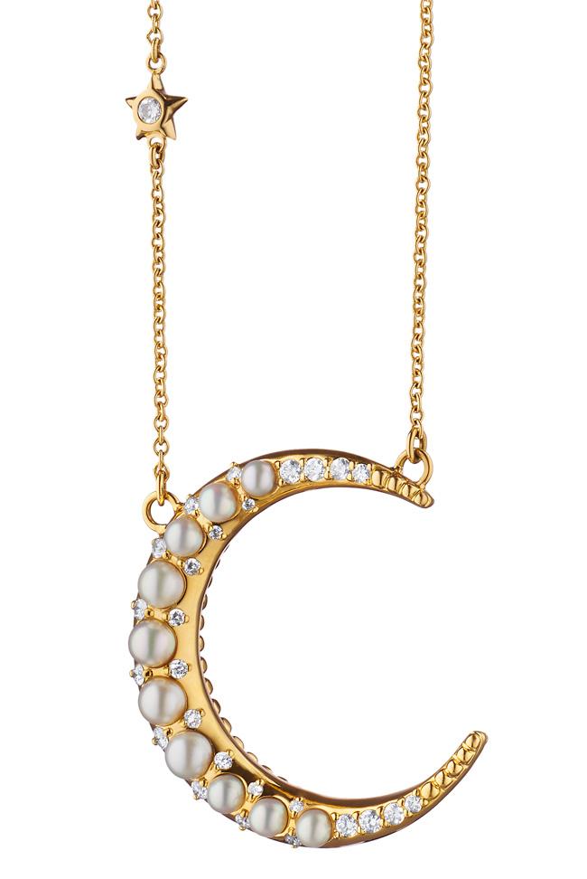 Monica Rich Kosann moon necklace pearls