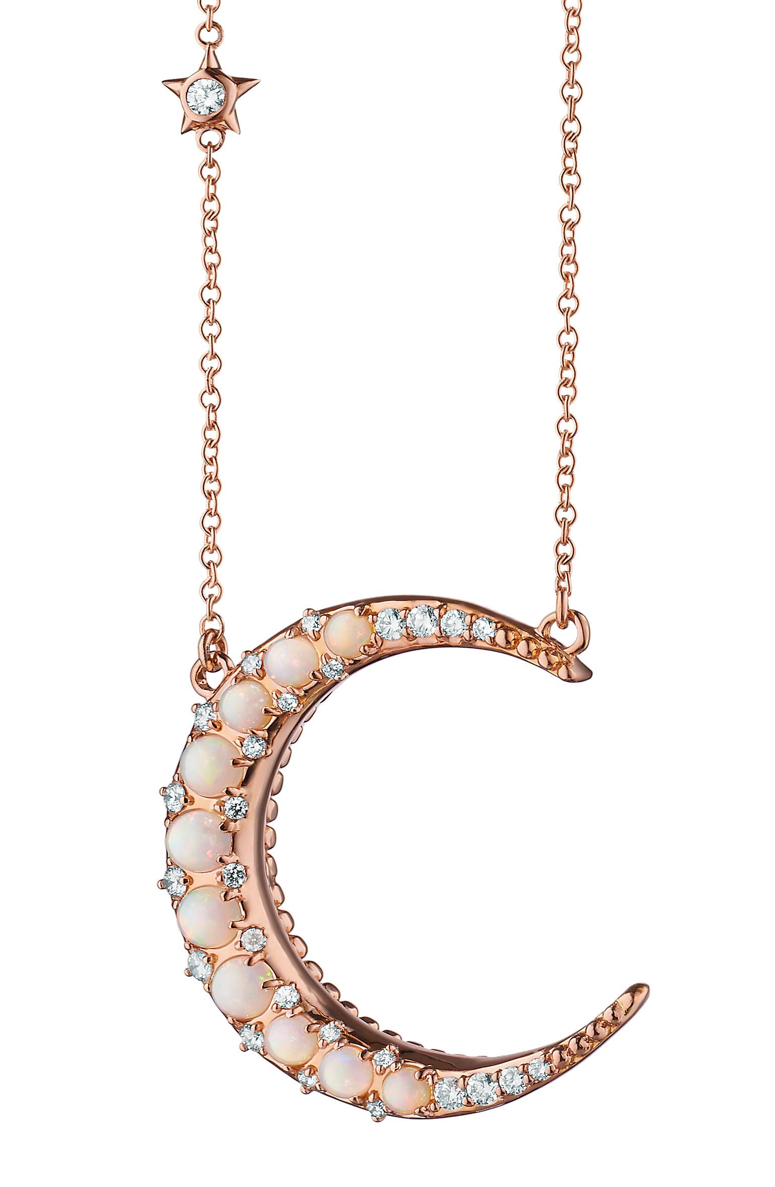 Monica Rich Kosann moon necklace pink