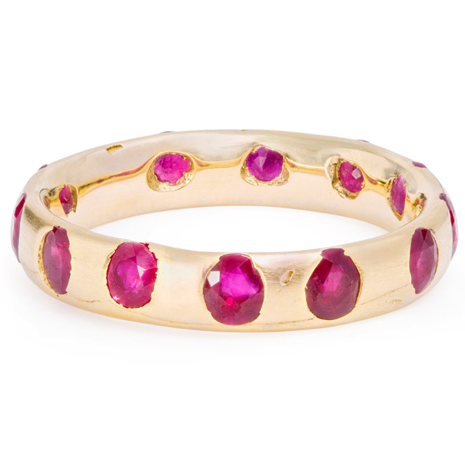 Polly Wales wide ruby ring
