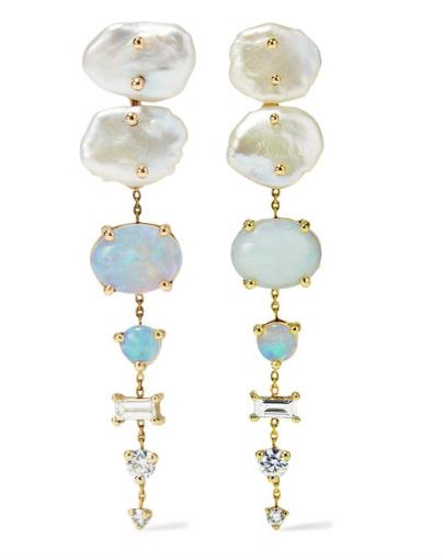 Wwake opal Net Sustain big earrings