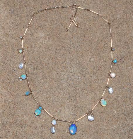 Wwake opal Net Sustain necklace