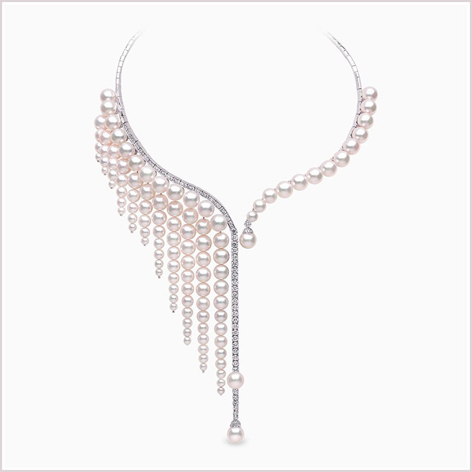 Yoko London waterfall akoya pearl and diamond necklace in 18ct white gold