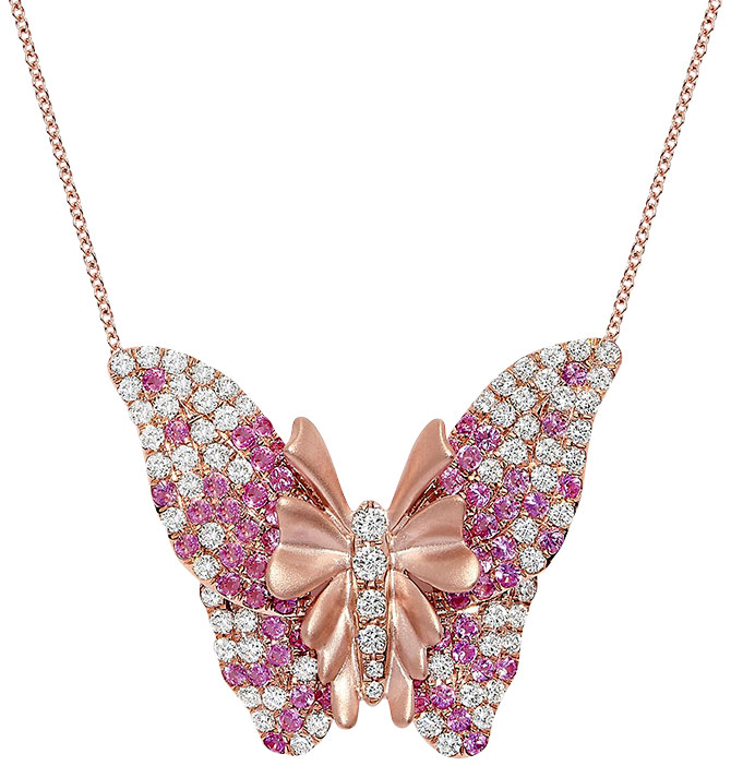 effy pink sapphire butterfly pendant