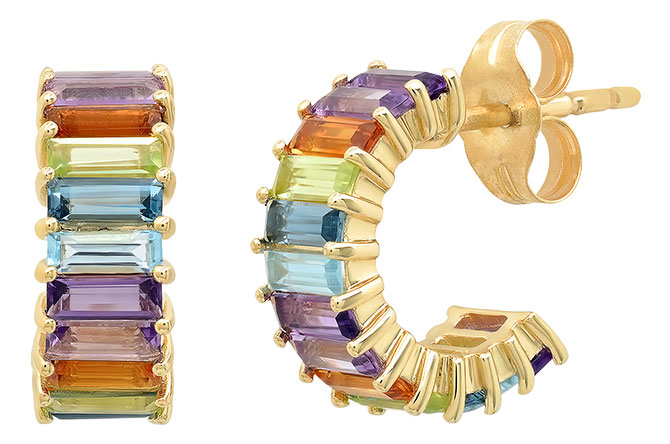 eriness multicolored sapphire hoop earrings