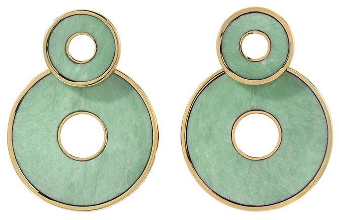 retrouvai green turquoise swivel earrings