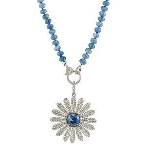 sheryl lowe sapphire flower necklace