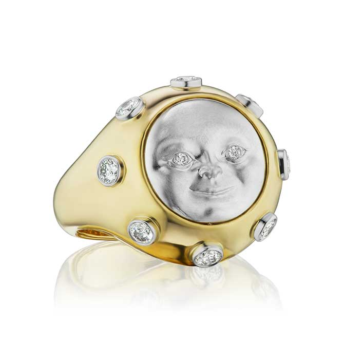 Anthony Lent moonface moonstone ring