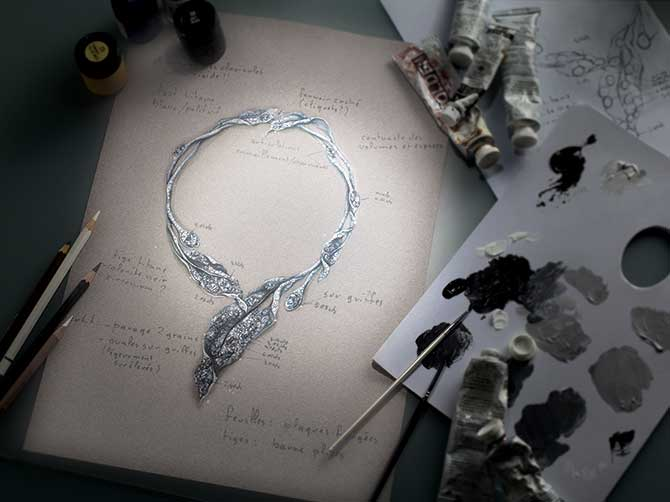 Cindy Chao Winter Leaves necklace sketch