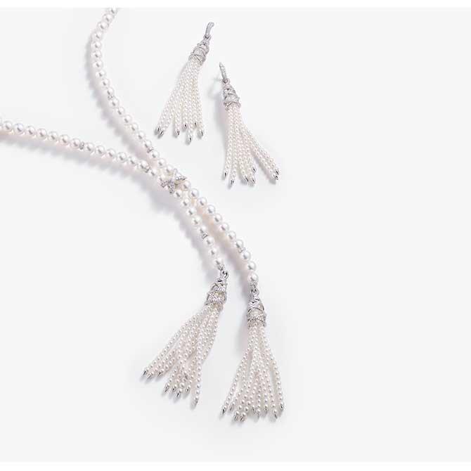 David Yurman pearl tassel earrings and necklace