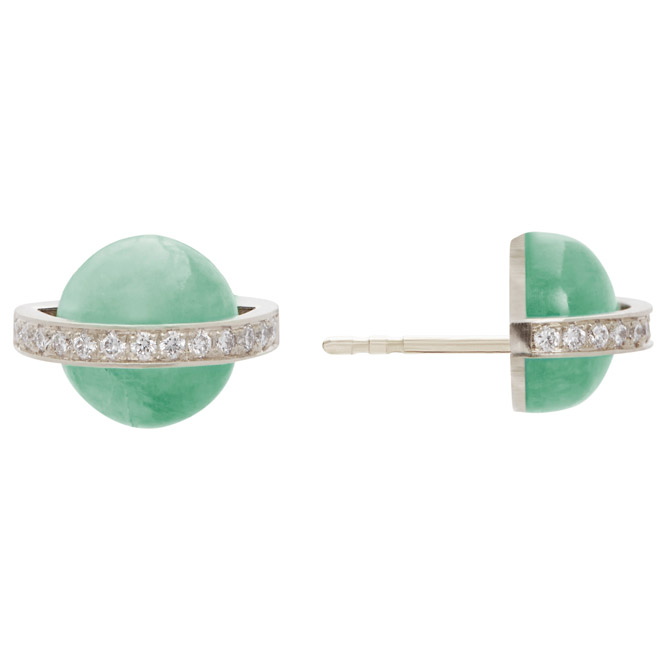 Alina Abegg chrysoprase Saturn earrings
