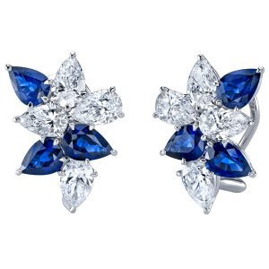 Joshua J sapphire and diamond cluster earrings