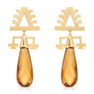 Lukutuwe topaz drop earrings