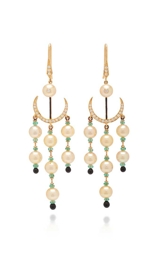 Hanut Singh pearl crescent earrings