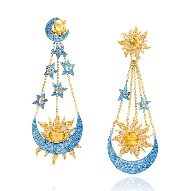 Lydia Courteille moon and star earrings