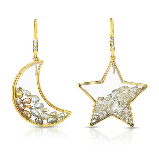 Moritz Glik moon star earrings