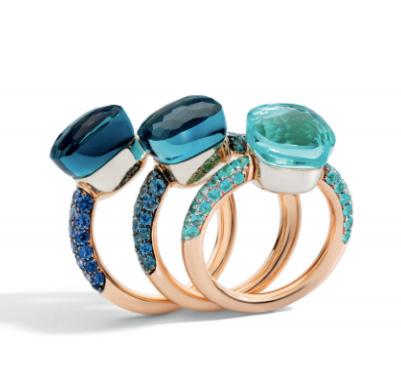 Pomellato Nudo rings blue