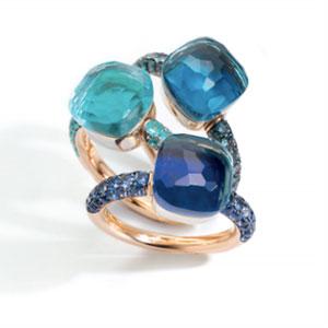 Pomellato Nudo rings deep blue