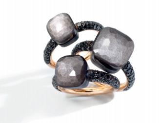 Pomellato obsidian Nudo rings