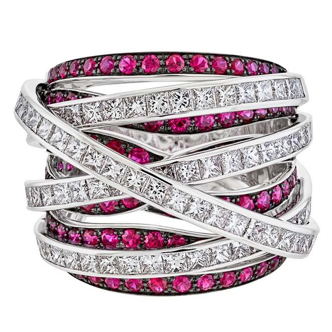 Sofragem ruby and diamond Spaghetti ring