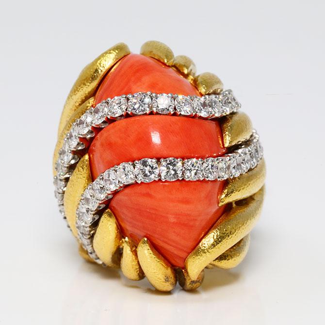 David Webb coral ring