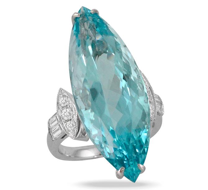 Doves aquamarine ring
