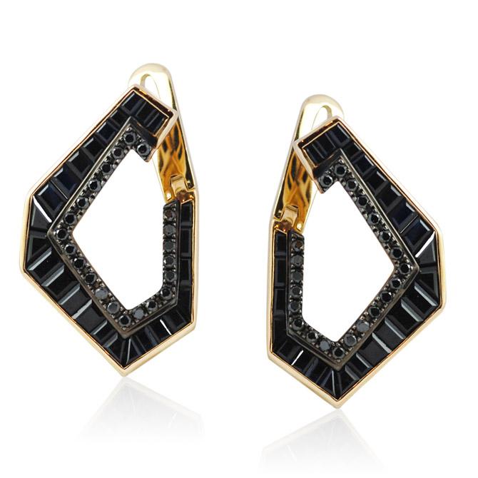 Kavant and Sharart Link No.5 black sapphire earrings