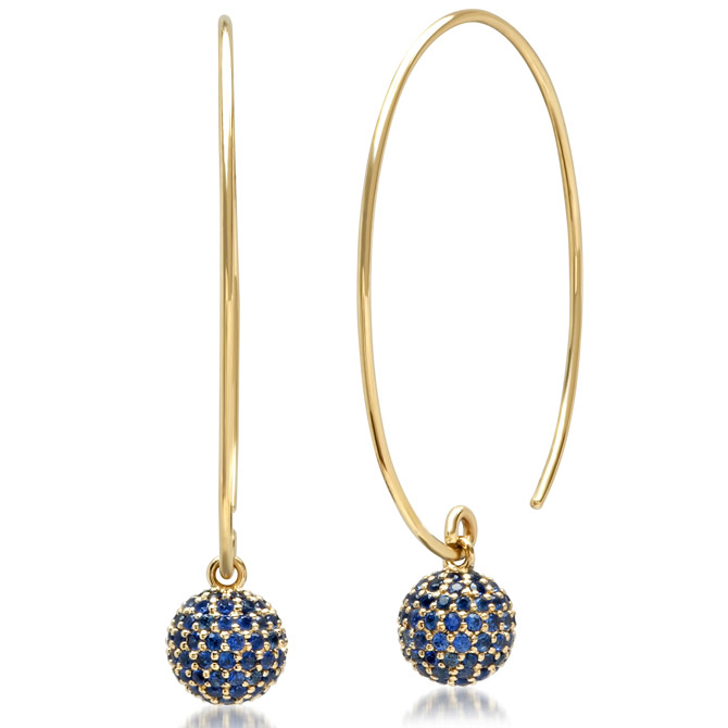 Eriness blue sapphire Disco Ball wire earrings