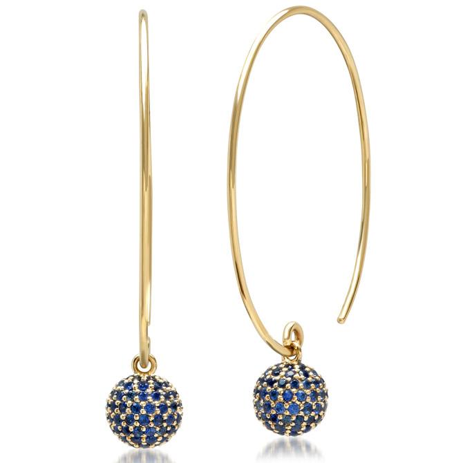 Eriness blue sapphire Disco Ball wire earrings