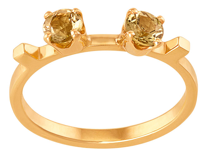 June Nineteen 2 cubes 2 stones gold ring