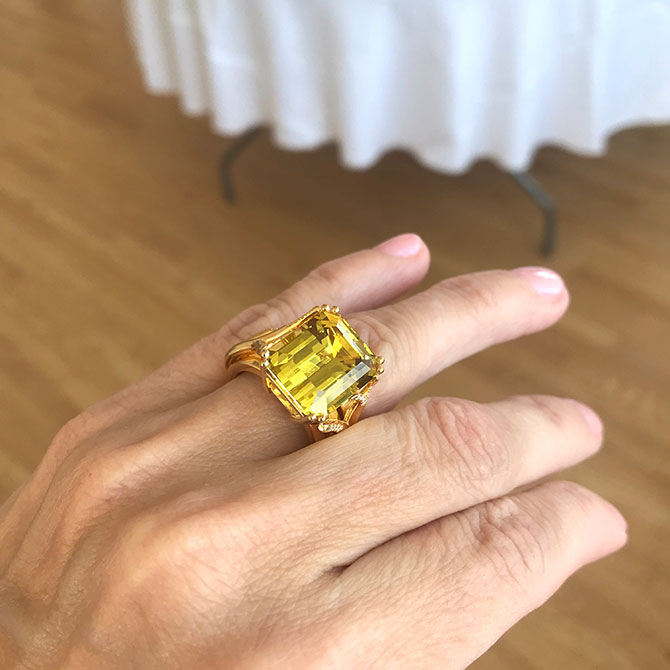 K Brunini yellow beryl ring