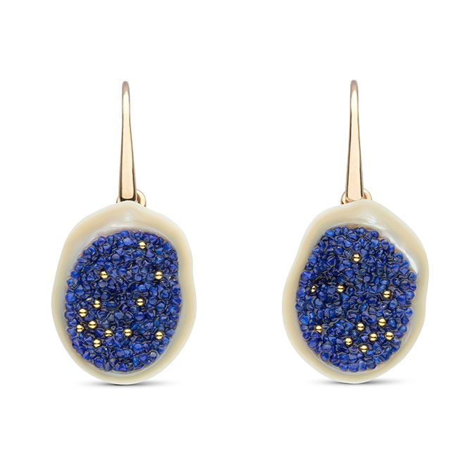 Little h earrings with lapis