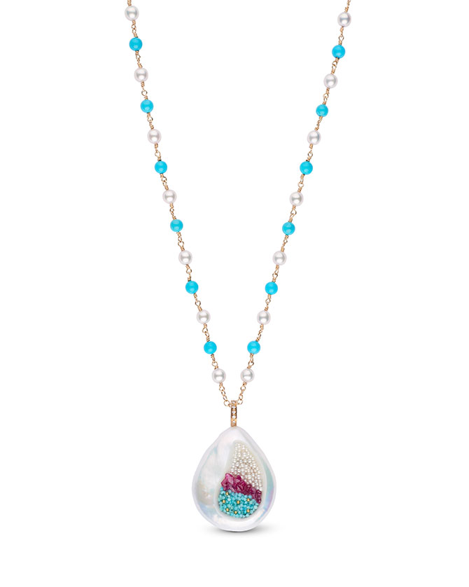 Little h turquoise coin pearl pendant