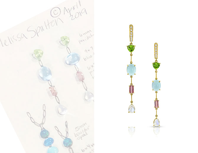 M Spalten Duster earrings and sketch