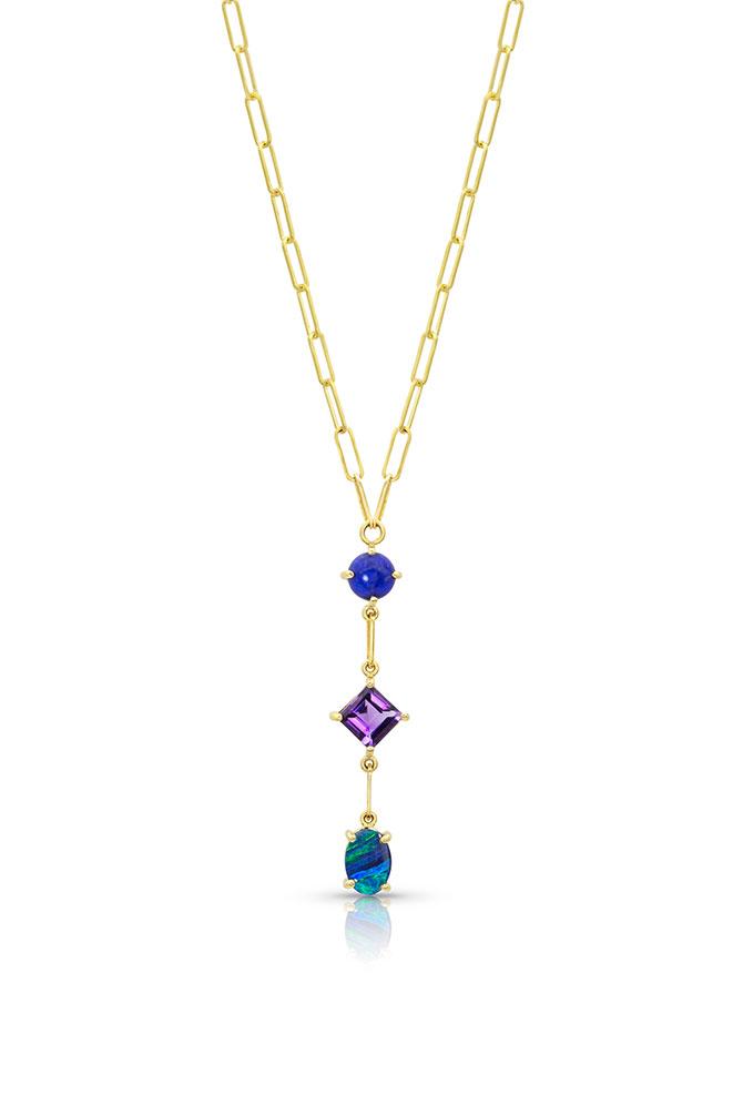 M Spalten gemstone Lariat necklace