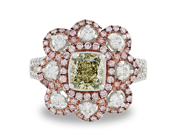 MS Rau greenish yellow diamond flower ring