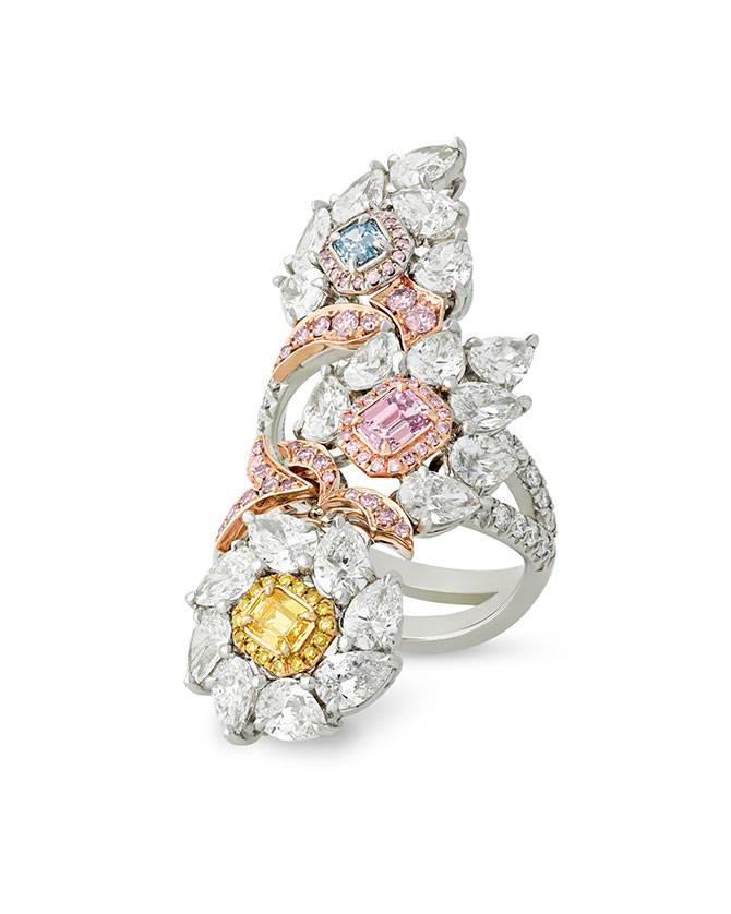 MS Rau multicolor diamond cocktail ring