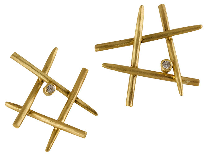 Margery Hirshcey stud earrings with diamonds