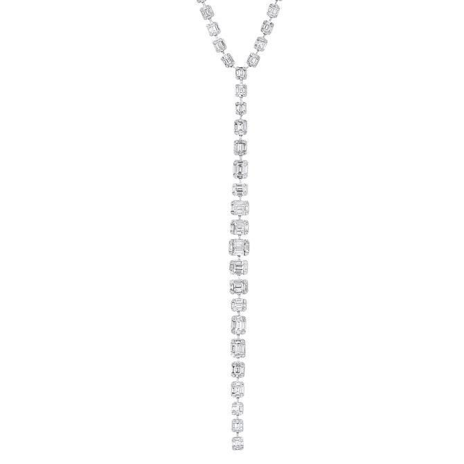 Benjamin and Co baguette diamond necklace